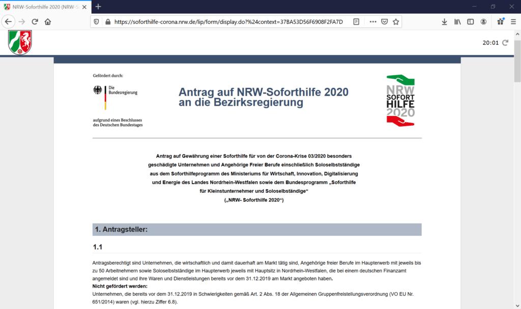 Das Bild zeigt die offizielle Website des Bundeslandes Nordrhein-Westfalen für Corona Soforthilfe Anträge.
