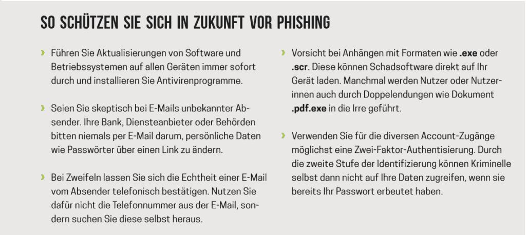 Es ist eine Phishing-Checkliste der Polizeilichen Kriminalprävention zu sehen.