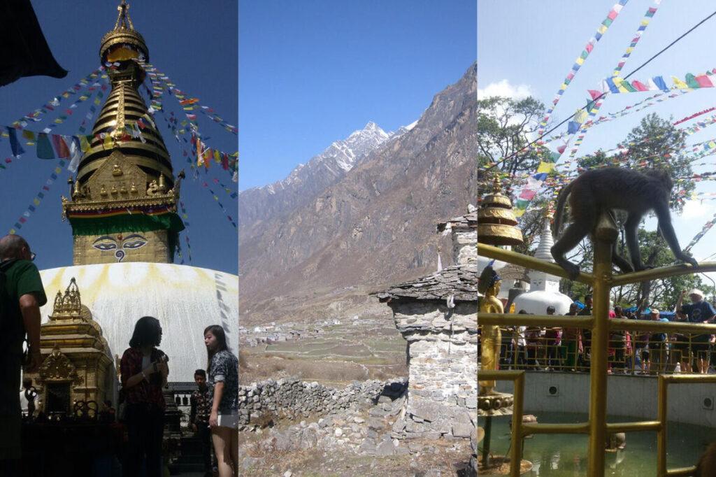 Links: Ein goldener Tempel mit Gesicht und bunten Gebetsfahnen. Mitte: Tal umringt von Bergen. Rechts: Ein Affe zwischen einer Menschenmenge.